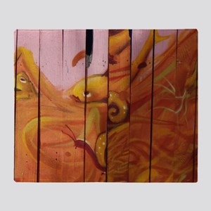 Golden Graffiti Goldfish Throw Blanket
