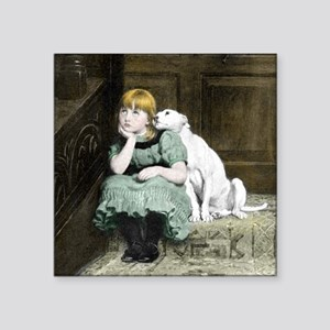Dog Adores Girl Painting Sticker