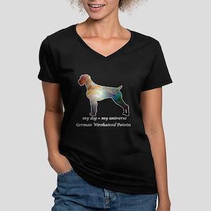 GERMAN WIREHAIRED POIN Women's V-Neck Dark T-Shirt