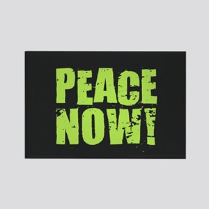 Peace Now - Lime on Black Magnets
