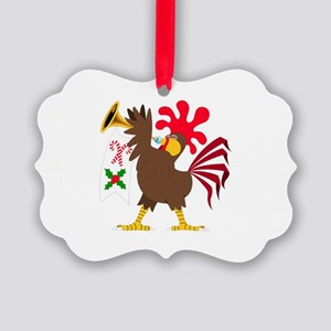 Christmas Trumpeting Rooster Picture Ornament