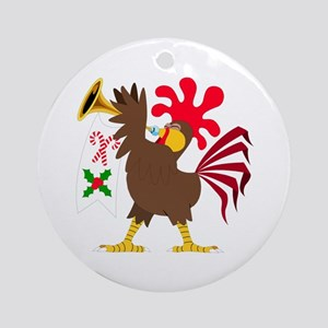 Christmas Trumpeting Rooster Round Ornament