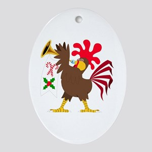 Christmas Trumpeting Rooster Oval Ornament