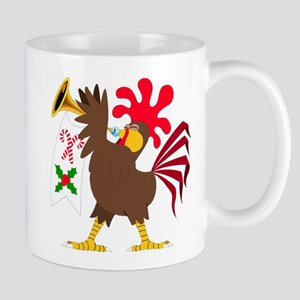 Christmas Trumpeting Rooster Mugs