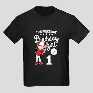1st Birthday Girl Kids Dark T-Shirt