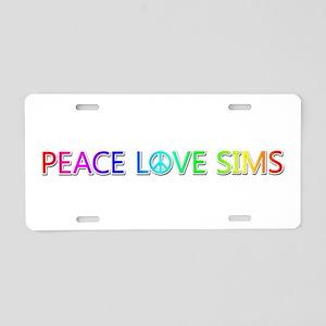 Peace Love Sims Aluminum License Plate