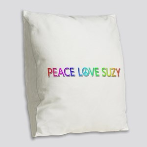 Peace Love Suzy Burlap Throw Pillow