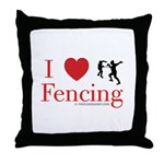 I Love Fencing Throw Pillow