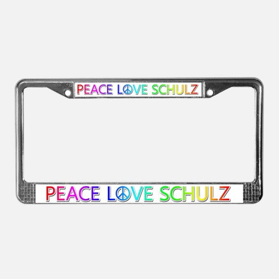 Peace Love Schulz License Plate Frame