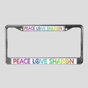 Peace Love Sharon License Plate Frame