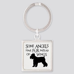 Schnauzer Angel Square Keychain