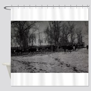 an old winter scene with trees,snow Shower Curtain