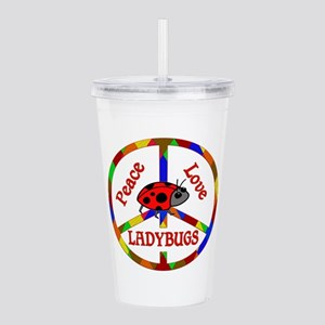 Peace Love Ladybugs Acrylic Double-wall Tumbler