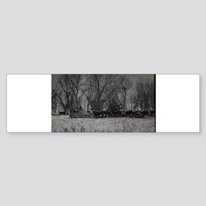 old farm scene with cows and truck Bumper Sticker