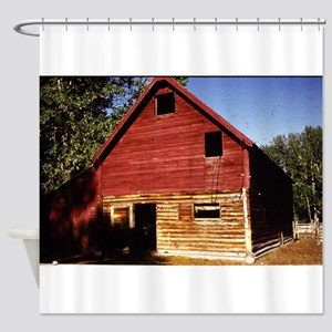 old view of cabin in Montana Shower Curtain
