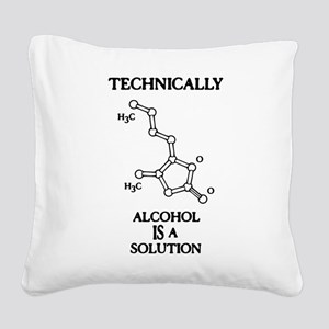 Alcohol, A Solution Square Canvas Pillow