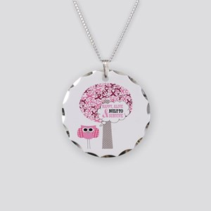 happy & alive breast cancer Necklace Circle Charm
