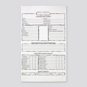 Role play game character sheet Area Rug