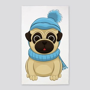 Winter Pug Area Rug