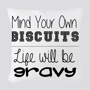 mind your own Woven Throw Pillow