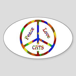 Peace Love Cats Sticker (Oval)