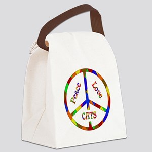 Peace Love Cats Canvas Lunch Bag