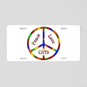 Peace Love Cats Aluminum License Plate
