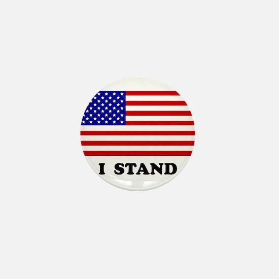 US Flag I Stand Mini Button