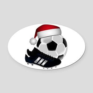 Christmas Soccer Oval Car Magnet