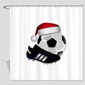 Christmas Soccer Shower Curtain