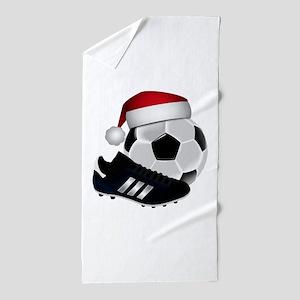 Christmas Soccer Beach Towel
