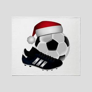 Christmas Soccer Throw Blanket