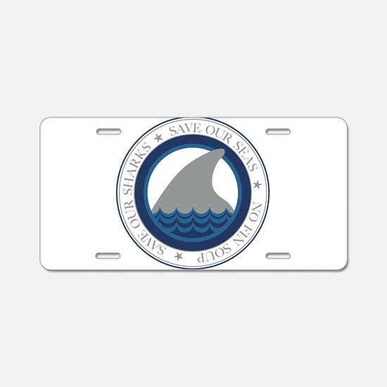 save our sharks Aluminum License Plate