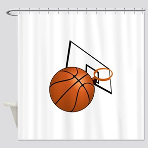 Basketball and Hoop Shower Curtain