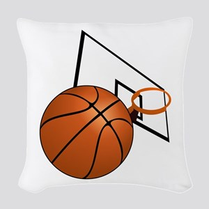 Basketball and Hoop Woven Throw Pillow
