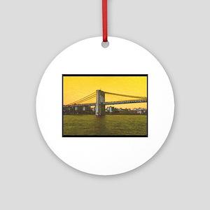 Retro Brooklyn Bridge Majestic NYC Round Ornament