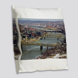 City of Bridges Burlap Throw Pillow