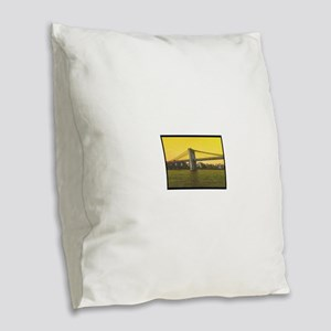 Retro Brooklyn Bridge Majestic Burlap Throw Pillow