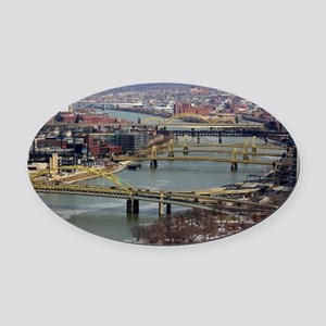 City of Bridges Oval Car Magnet