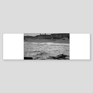 Cape May Beach - black and white Bumper Sticker