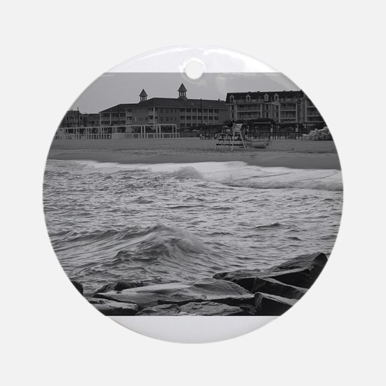 Cape May Beach - black and white Round Ornament