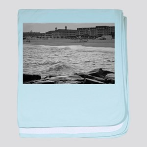 Cape May Beach - black and white baby blanket