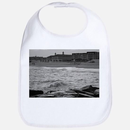 Cape May Beach - black and white Bib