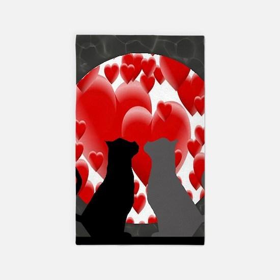 Valentine Kitties Area Rug