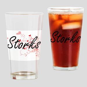 Storks Heart Design Drinking Glass