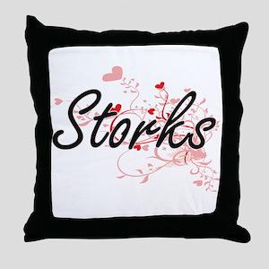 Storks Heart Design Throw Pillow