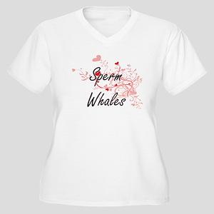 Sperm Whales Heart Design Plus Size T-Shirt