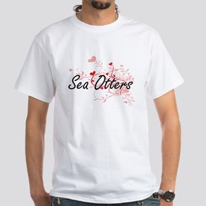 Sea Otters Heart Design T-Shirt