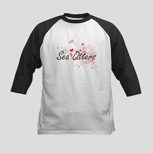Sea Otters Heart Design Baseball Jersey