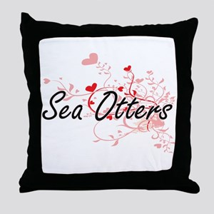 Sea Otters Heart Design Throw Pillow